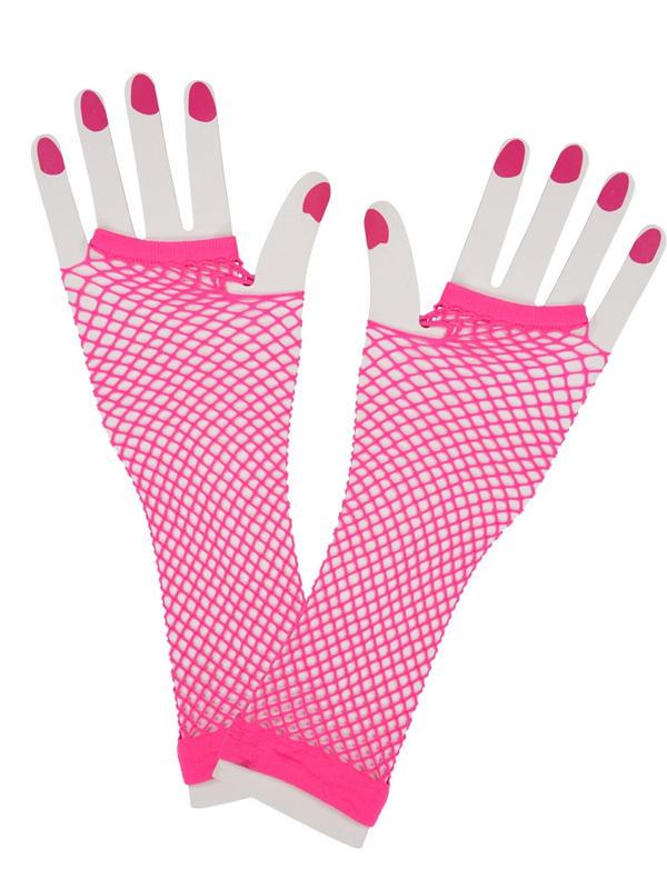 Net Gloves Long Neon Pink