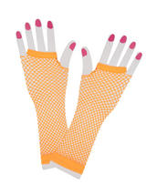 Net Gloves Long Neon Orange