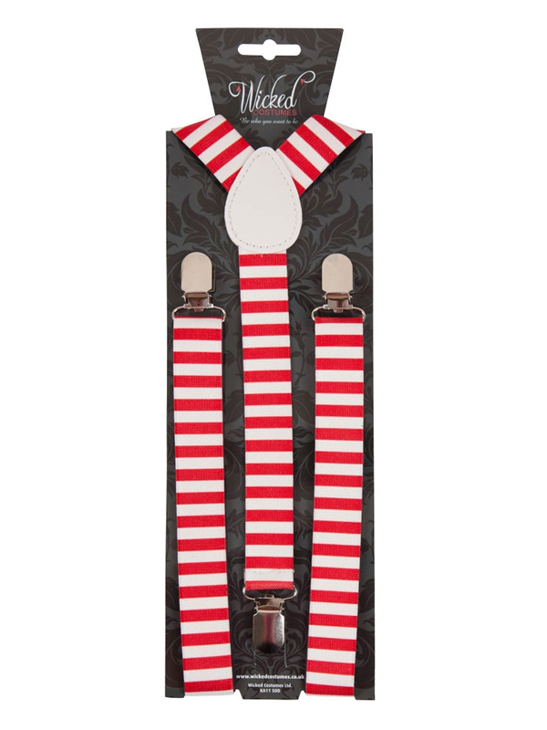 Braces Suspenders Red & White Candystripe