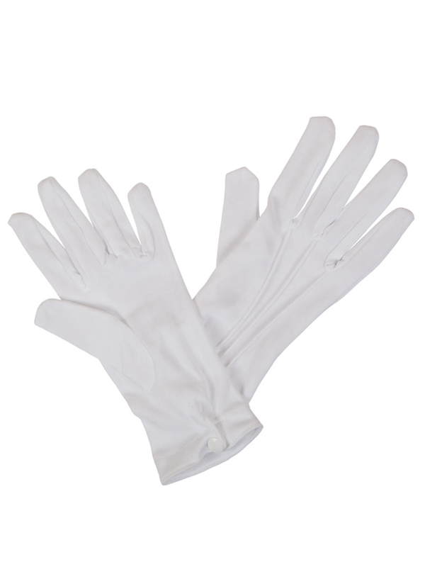Gents White Glove With Snap Wrist Closure