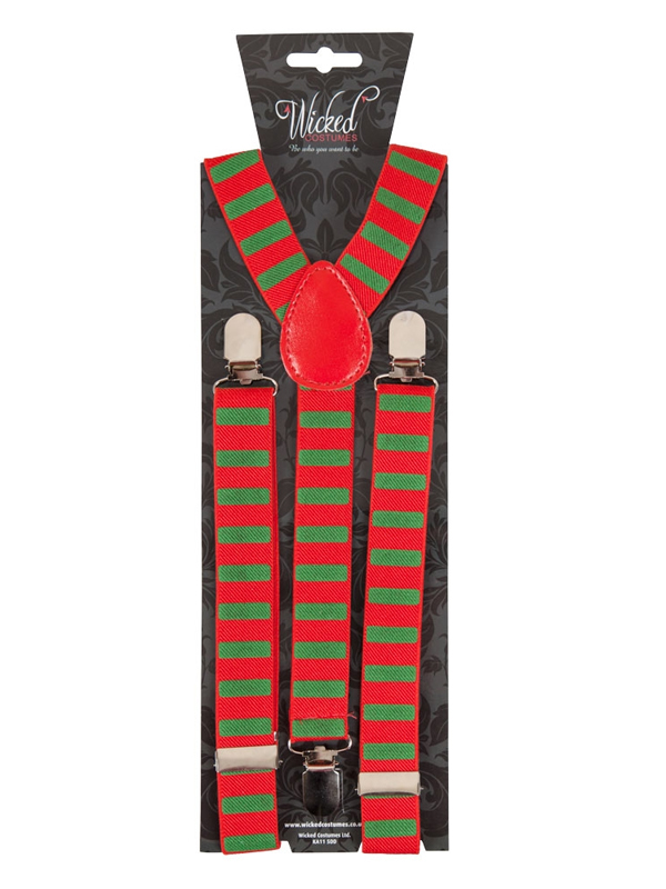 Braces Suspenders Green & Red Candystripe