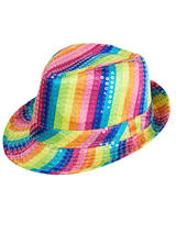 Adult Rainbow Sequin Fedora