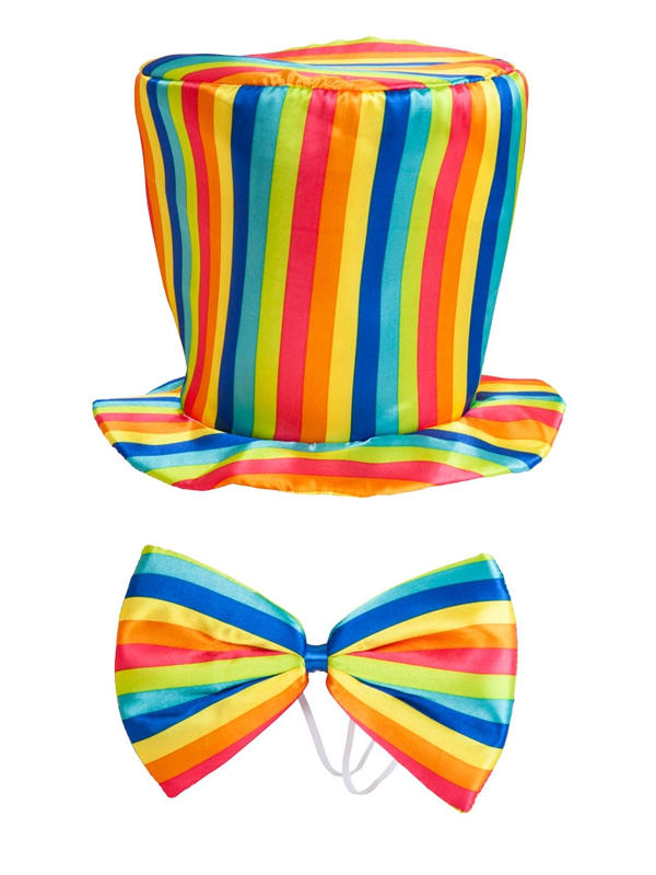 Adult Rainbow Top Hat & Bow Tie