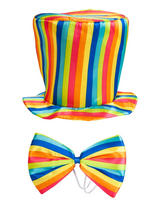 Adult Rainbow Top Hat & Bow Tie