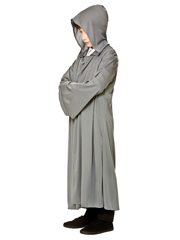 Child Grey Hooded Robe Costume
