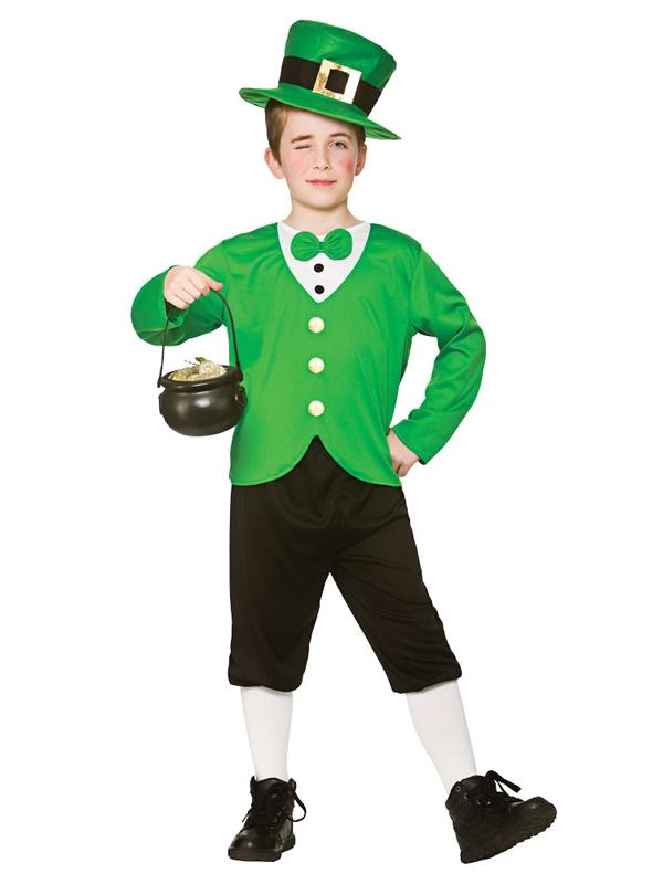 Ninos-St-Patricks-Lucky-Duende-Irlandes-Gracioso-Chicos-Vestido-de-fantasia-Traje-de-Disfraz