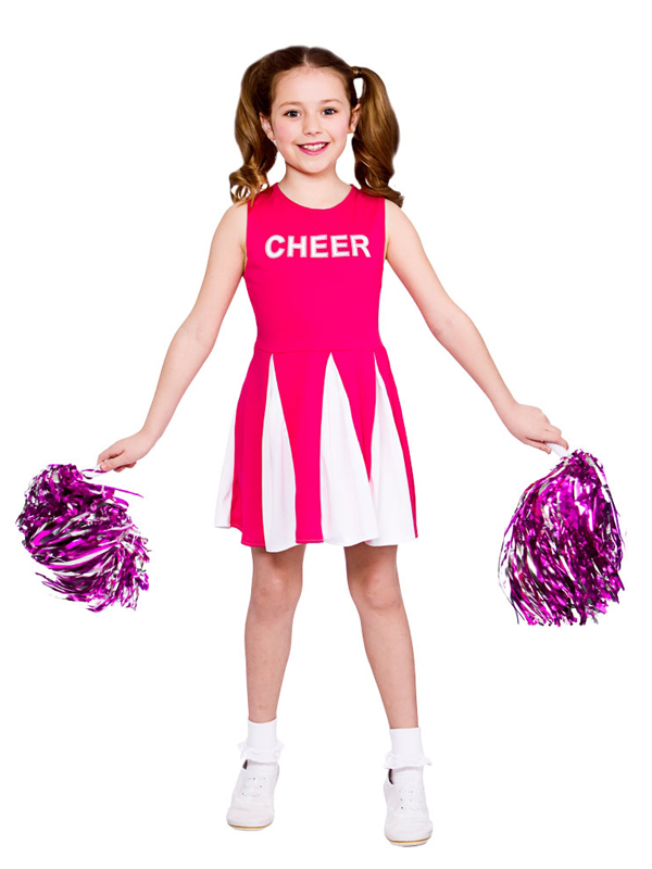 Le-Ragazze-Cheerleader-Costume-Rosa-Shocking-Bambini-Costume-  sc 1 st  eBay & Girls Cheerleader Costume Hot Pink Child Fancy Dress Kids High ...