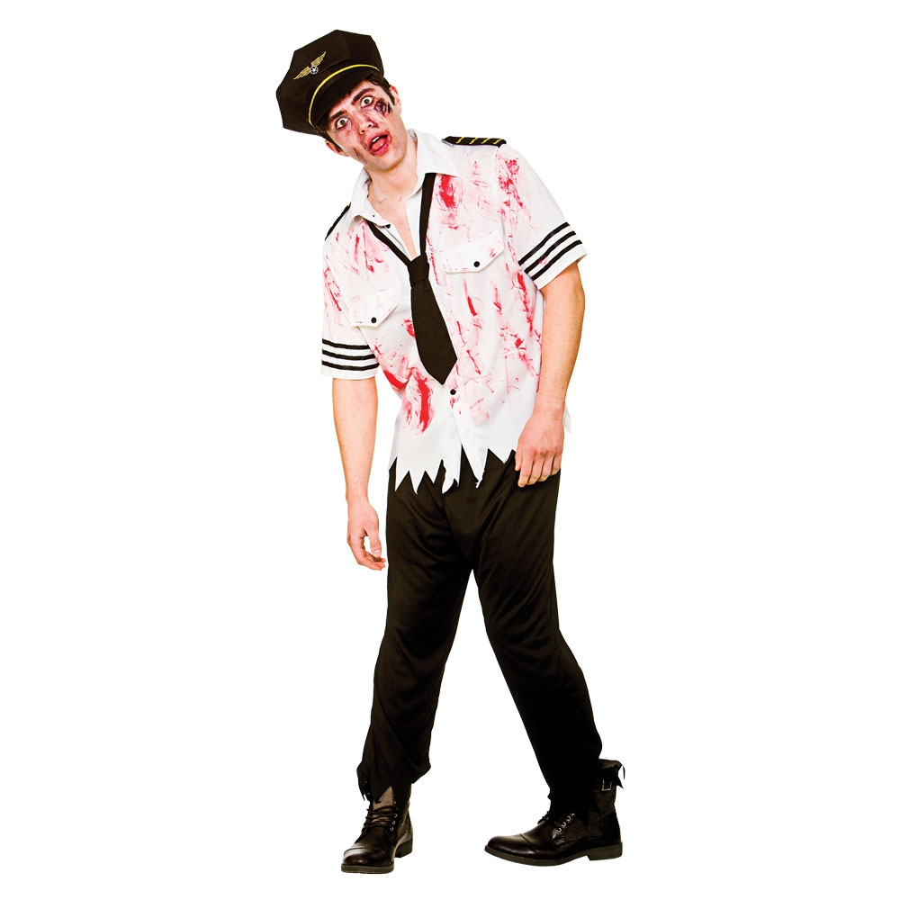 zombie airline pilot scary horror adults mens halloween