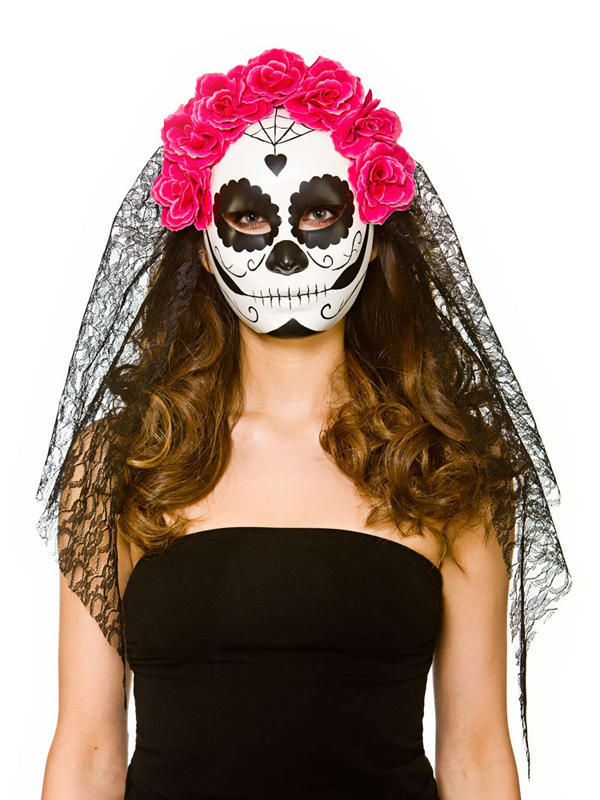 Adult Ladies Deluxe Day Of The Dead Mask With Veil