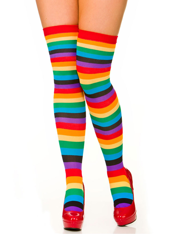 Rainbow Thigh High Stockings