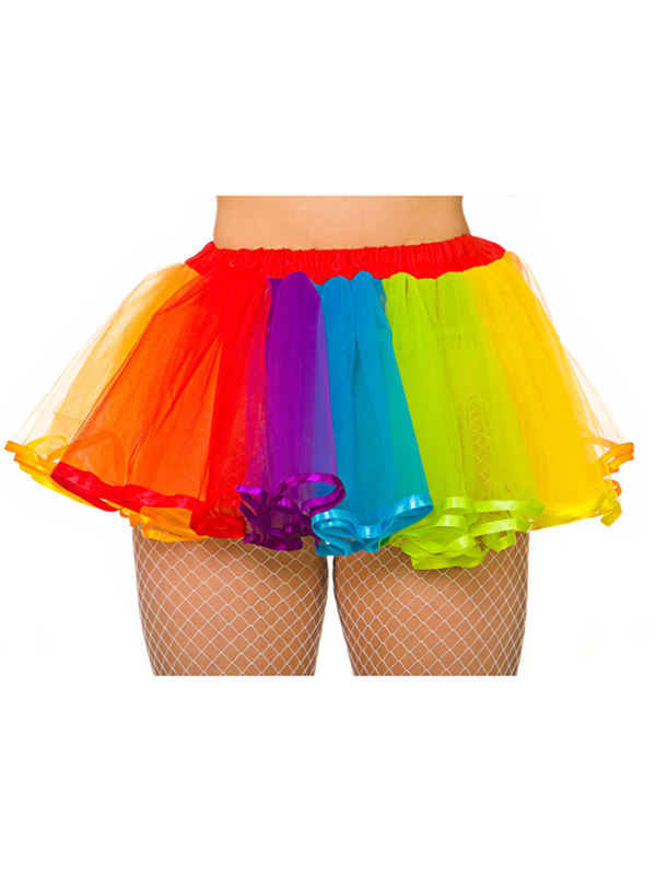 Adult Deluxe Rainbow Tutu With Satin Detail