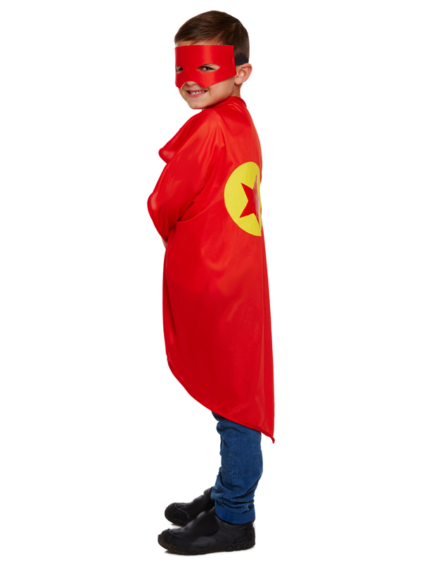 Child Superhero Cape & Mask Red