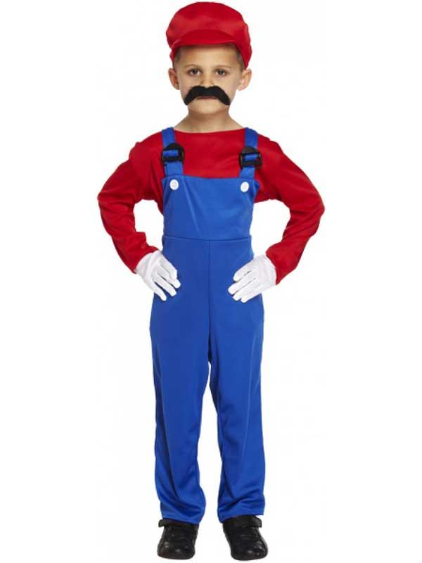 Garcons-enfants-rouge-super-ouvrier-plombier-super-mario-  sc 1 st  eBay & Boys Kids Red Super Workman Plumber Super Mario Bros Fancy Dress ...