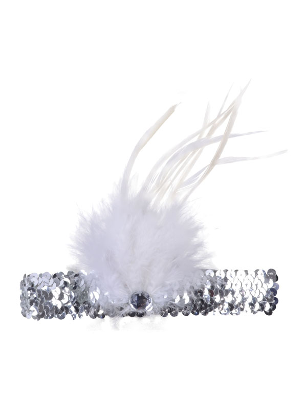 Adult Ladies Flapper Headband Slvr Esqn/Wte Feather