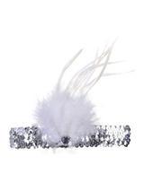 Adult Ladies Flapper Headband Slvr Esqn/Wte Feather
