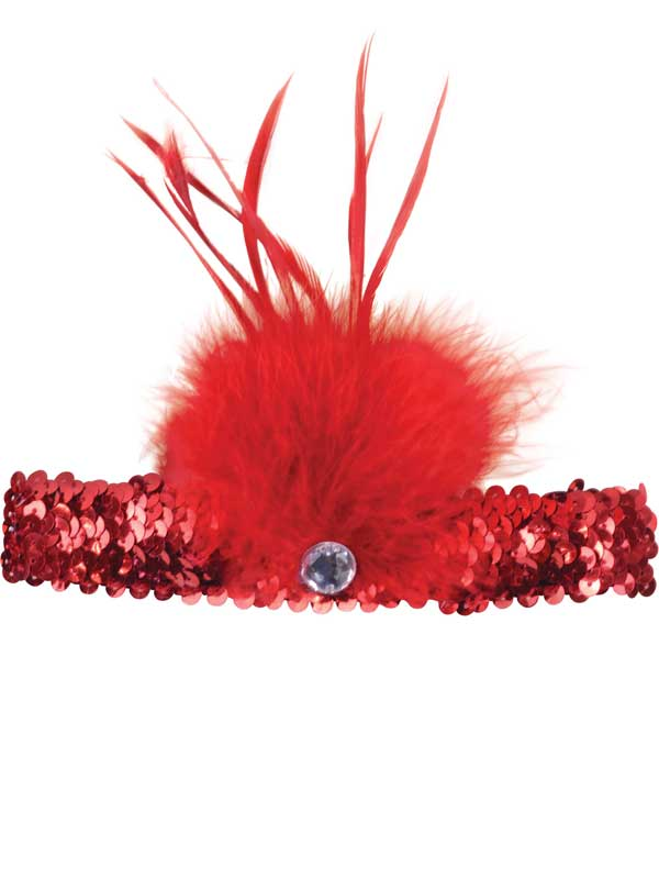 Adult Ladies Flapper Headband Red Sqn + Feather