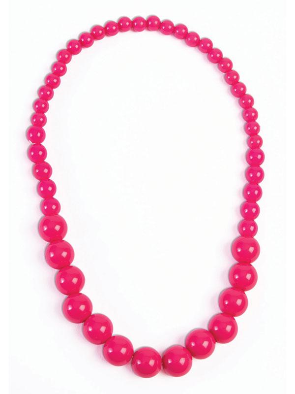 Pop Art Big Pearl Necklace Hot Pink