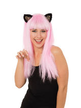 Adult Ladies Cat Wig Wears Pink