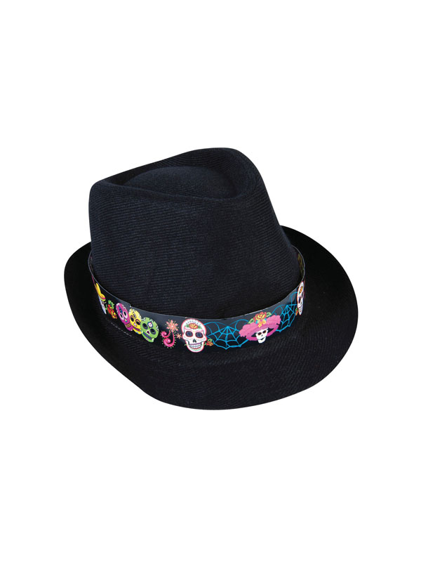 Adult Mens Day Of The Dead Fedora
