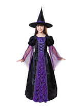 Child Girls Princess Witch Black Purple Costume