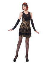 Flapper Black Gold Lace Costume