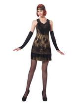 Flapper Black Gold Lace Costume