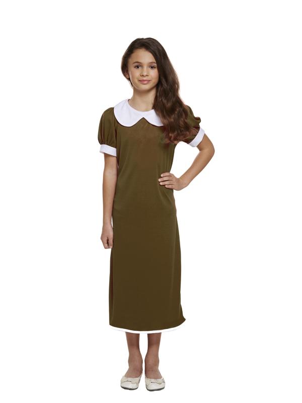 Child Evacuee Girl Brown Costume