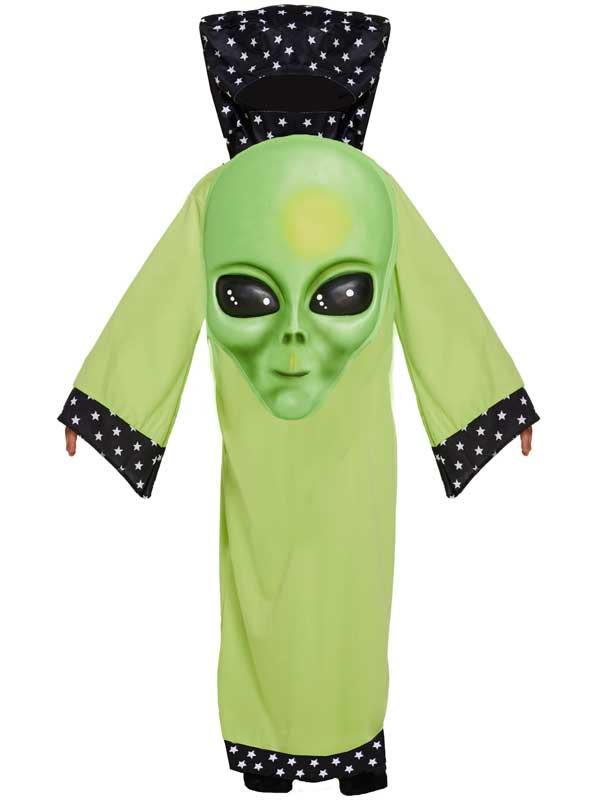 Child Green Jumbo Face Alien Costume