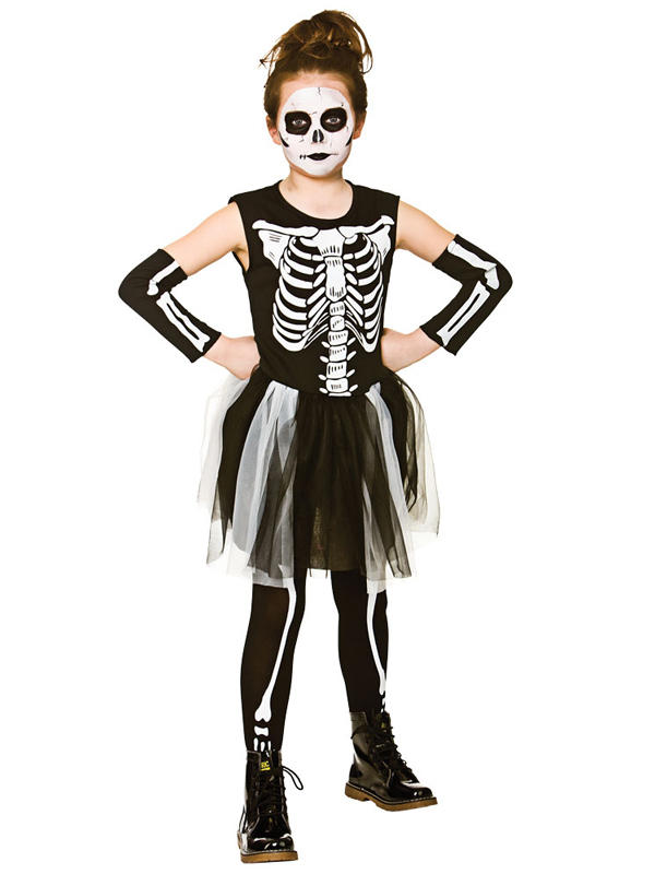 Child Girls Skelebones Costume