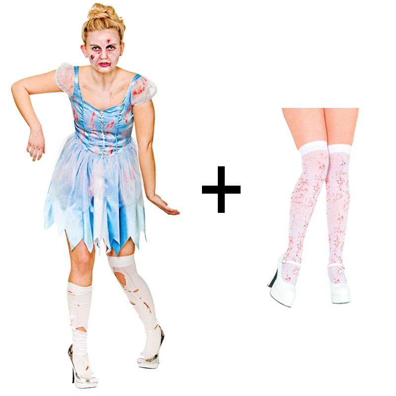 e128c2189aa4 Sentinel Ladies Zombie Halloween Dark Cinders Cinderella Fancy Dress Costume  + Stockings