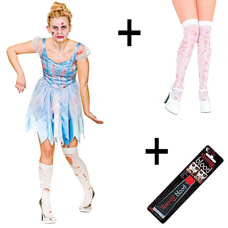 Sentinel Ladies Zombie Halloween Dark Cinders Cinderella Fancy Dress Costume  + Stockings 50fe2d7fc949