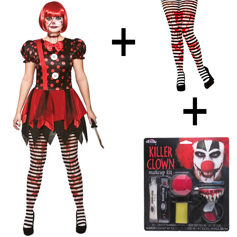 Adult Ladies Horror Killer Evil Clown Fancy Dress Halloween Costume