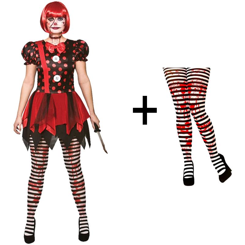Adult-Ladies-Horror-Killer-Evil-Clown-Fancy-Dress-Halloween-Costume-Tights-New