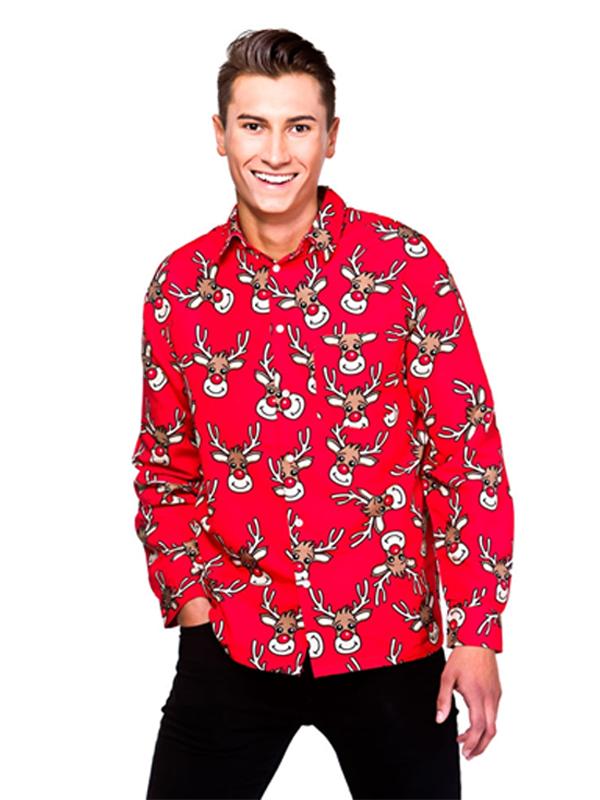 Adult Mens Red Reindeer Christmas Shirt