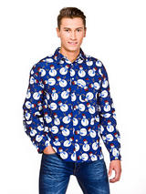 Adult Mens Blue Snowman Christmas Shirt