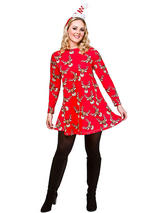 Adult Ladies Red Reindeer Christmas Dress