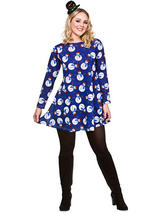 Adult Ladies Blue Snowman Christmas Dress