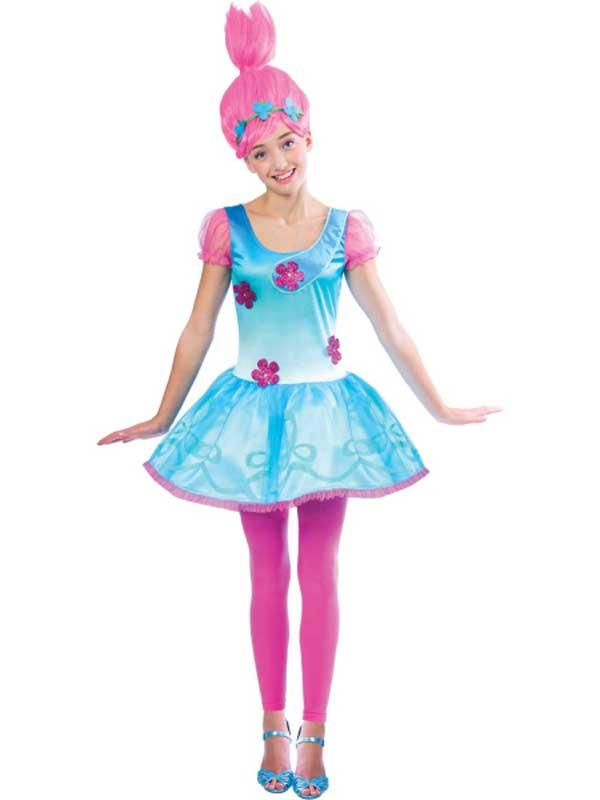 child trolls poppy troll doll new fancy dress costume and wig kids girls outfit Thumbnail 3