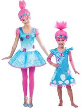 child trolls poppy troll doll new fancy dress costume and wig kids girls outfit
