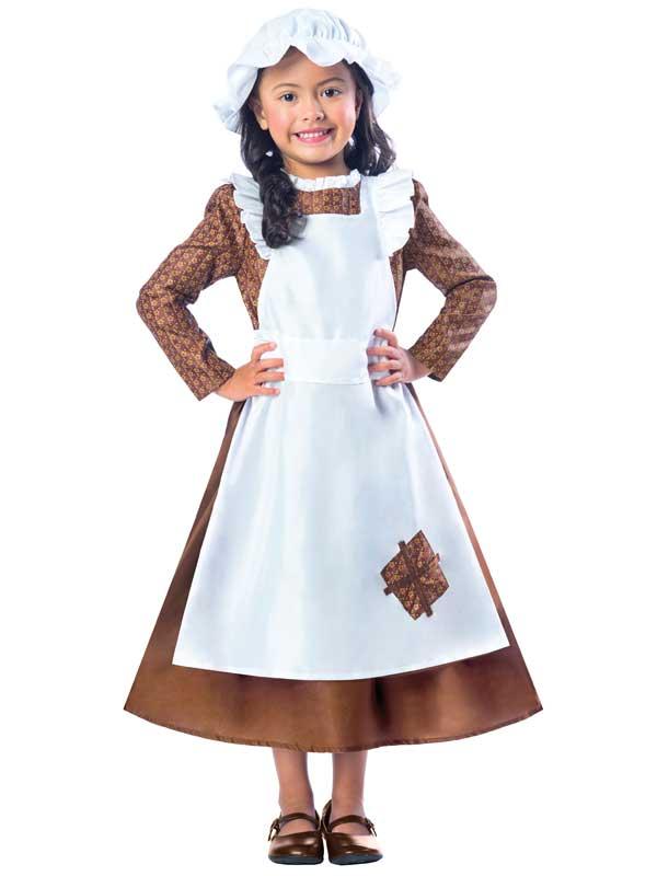 Victorian Poor Girl Costume Maid Fancy Dress Girls Book Day Kids ...