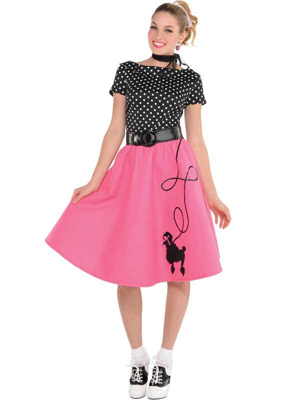 adult ladies rock n roll 1950s poodle fancy dress pink