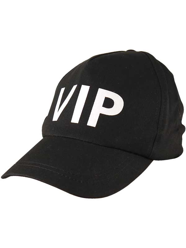 Black Adjustable VIP Baseball Cap Fancy Dress Security Cop Staff Guard Accessory