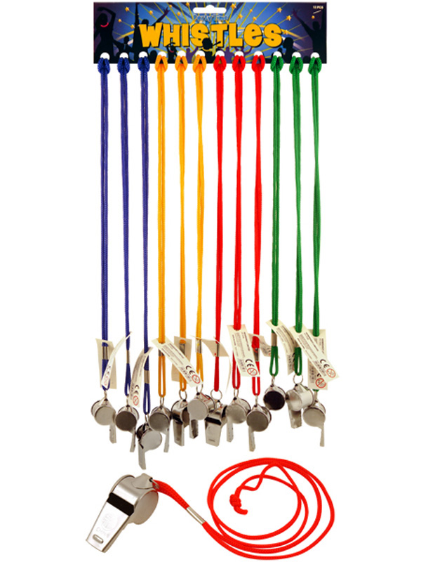 Metal Whistle With Coloured String