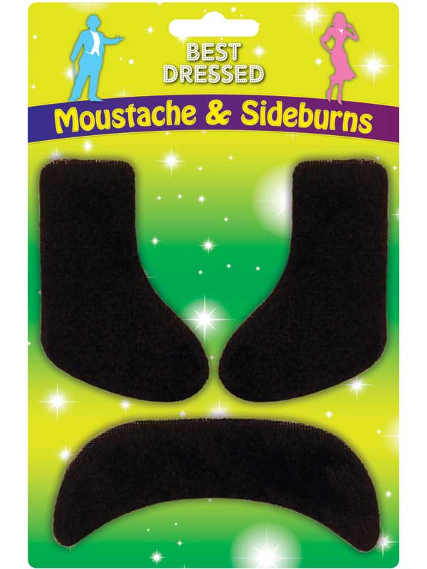 Adult Sideburns & Moustache Set
