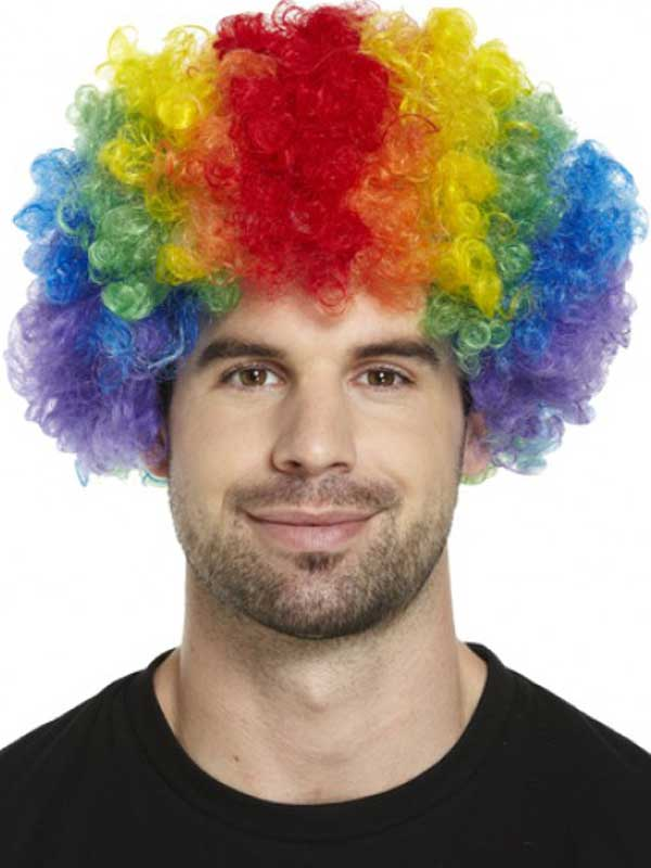 Adult Clown Rainbow Afro Wig Multi Coloured