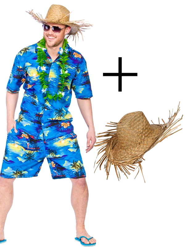 Mens Hawaiian Beach Party Blue Palm Fancy Dress Costume Luau Outfit + Hat + Lei | EBay
