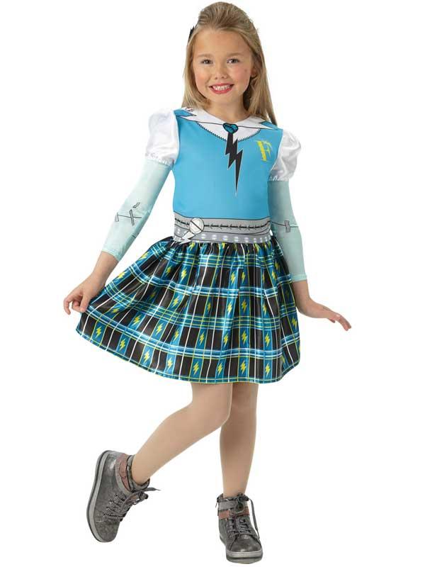 Girls Frankie Stein Monster High Costume Halloween Child Fancy Dress