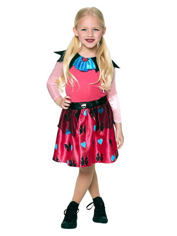 Le-ragazze-Draculaura-Monster-High-Costume-Dracula-V&iro-  sc 1 st  eBay & Girls Draculaura Monster High Fancy Dress Halloween Costume Vampire ...