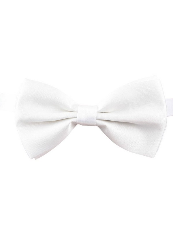 White Bow Tie With Adjustable Strap