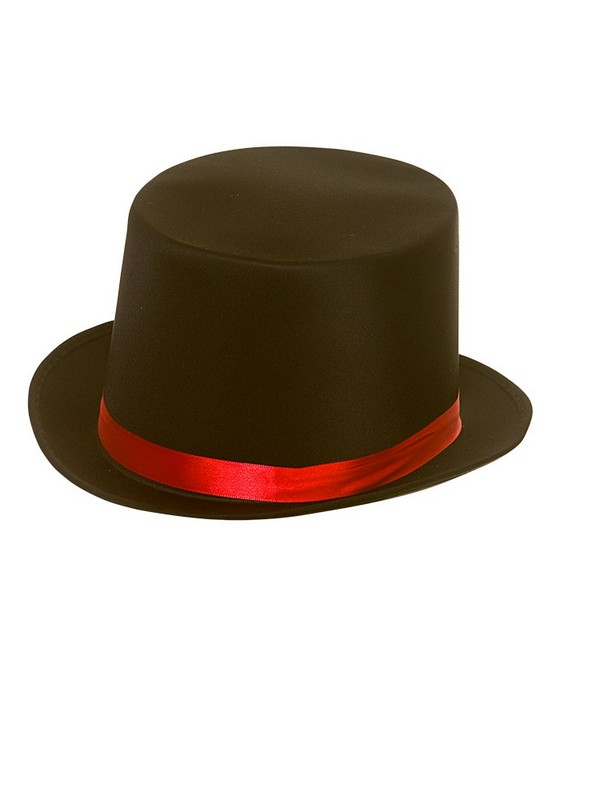 Adult Mens Satin Top Hat With Red Satin Band